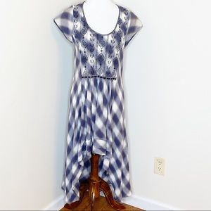 Free People Rad For Plaid Blue Gray High Low Dress